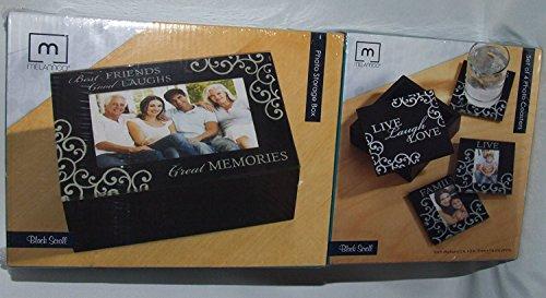 Photo Coasters and Keepsake Storage Box Gift Set - Deluxe Photo Coasters (Set of 4) and Storage Box