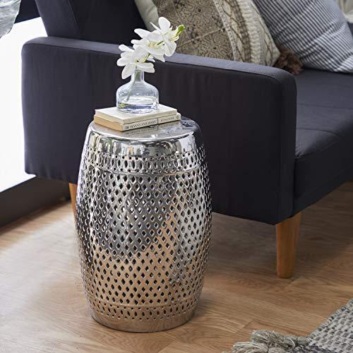 Deco 79 Lyra Ceramic Garden Stool, Silver