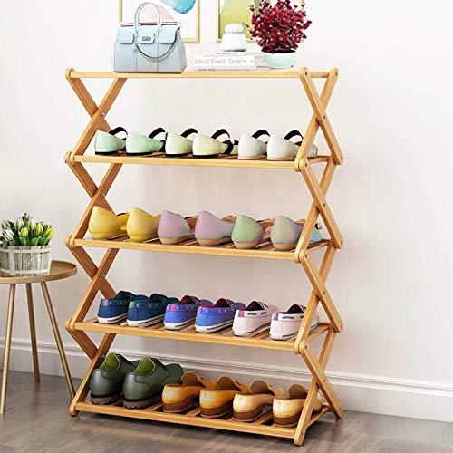 Eco-Friendly bamboo adjustable shoe rack,free installation (4-Tier, Bamboo)