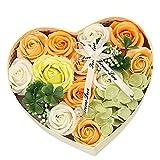 Casue Rosen Seifenblume in Herzförmige Geschenk-Box Handgefertigt Rose Blume Rosen Duftseifen...