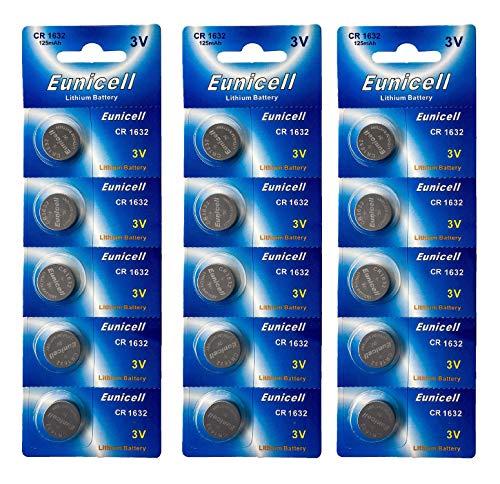 Eunicell 15 x CR1632 3V Lithium Knopfzelle 125 mAh (3 Blistercards a 5 Batterien) EINWEG Markenware EASTCELL (FBA)