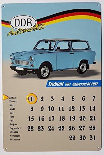 "Blechschild-Kalender - OHNE JAHRESBEGRENZUNG - ca. 20x30cm - DDR-Automobile \""Trabant 601 Universal De Luxe Kombi\"""