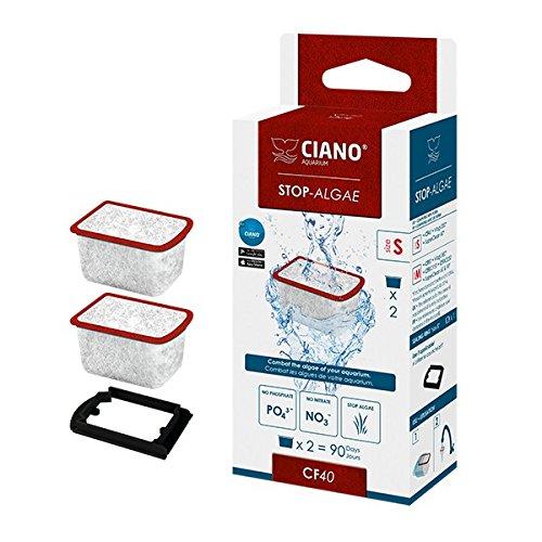 Ciano CF40 Lot de 2 cartouches de filtre anti-algues pour aquarium de format SM