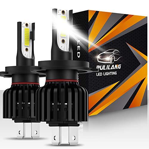 Pulilang H4 Bombillas LED para Faros Delanteros, COB Chips, 60W 12000LM 6500K IP65, Bombillas LED para Coche, 2 bombillas