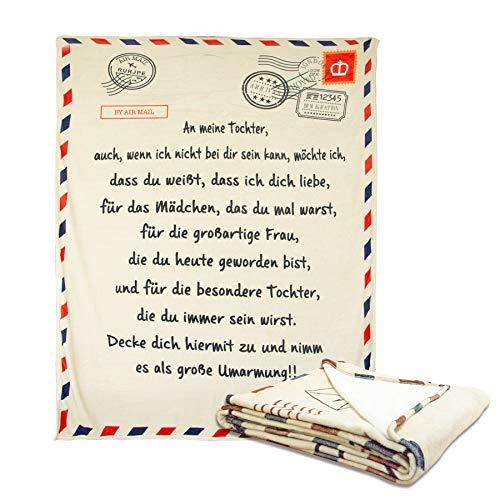 HXSYD Brief Decke zu meiner Tochter Brief gedruckt Quilts Mama für Tochter oder Sohn Air Mail Decke Positive Ermutigung und Liebe Tochter oder Sohn Geschenke (An Meine Tochter,150x200cm)