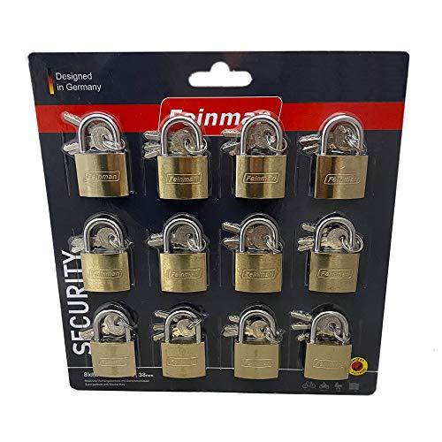 Megaprom 12x 38mm Vorhängeschloss gleichschließend, Gepäckschloss, Reiseschloss, Kofferschloss, Sicherheitsschloss mit 36 Schlüssel
