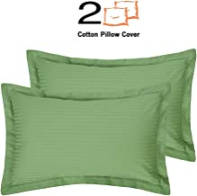 """Mahaveer Cotton Oxford Pillow Cover - Set of 2-100% Cotton, 400 Thread-Count, Soft, Smooth and Wrinkle Free (17"""" x 25""""_Sage Stripe)"""