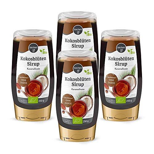 4 x borchers Bio Kokosblütensirup, Naturbelassen, Bio-Qualität, zum Süßen und Verfeinern 250 g