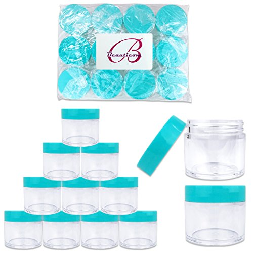 Beauticom 1 oz. 30G/30ML USA Acrylic Round Clear Jars with Teal Flat Top Lids for Creams, Lotions, Make Up, Cosmetics, Samples, Herbs, Ointments (12 Pieces (12 Bottoms & 12 Lids))