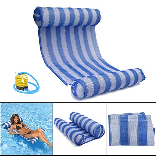 OUTERDO Water Hammock with Air Pump - Pool Lounger Float Hammock Inflatable Rafts Swimming Pool Air Lightweight Floating Chair Compact and Portable Swimming Pool Mat for adults and Kids
