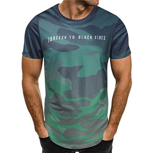 VEMOW Sommer Mode Persönlichkeit Camouflage Männer Täglich Cool Casual Schlank Kurzarm-Shirt Top Bluse Pullover(Grün, 52 DE/M CN)