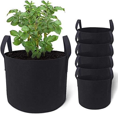 5 bolsas de cultivo resistentes para plantas, bolsas de cultivo de tela de aireación para verduras, bolsas de cultivo con asa, bolsas...