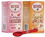 Red Rose Tea Bags, 2 Count: CARAMEL APPLE PIE TEA + STRAWBERRY CHEESECAKE TEA, Fruit Tea Bags [36 Bags Total] BONUS MEASURING SPOON INCLUDED.