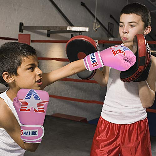 Kids Boxing Gloves 6oz Punch Mitts MMA Pu Cartoon Sparring Boxing Glove Children