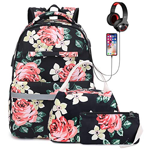 Girls School Backpack with USB Charging Port and Headphone Interface, Lightweight Water Resistant College Backpacks for Teen Girls/Women with Lunch Bag and Pencil Case (Peony)