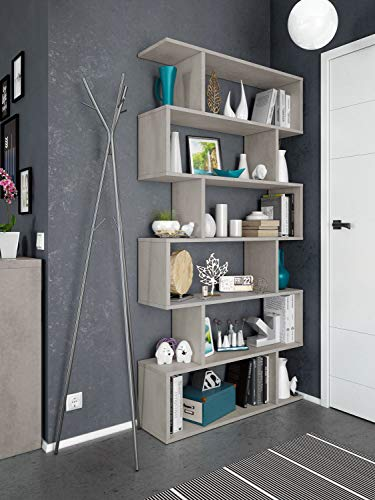 Dmora Libreria decorativa e funzionale, colore grigio cemento, cm 80 x 25 x h192, Bifacciale, Big