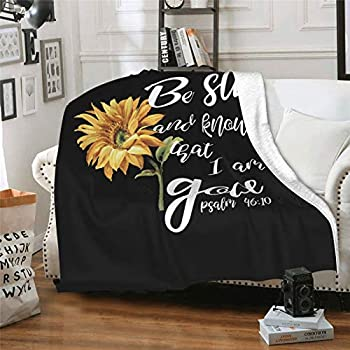 Subhuti Be Still and Know That I Am God Psalm 46:10 Blanket,Flannel Throw Blanket Ultra Soft Micro Fleece Blanket Bed Couch Living Room 80 X60  for Adults