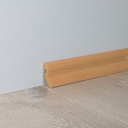 Sockelleiste Fußbodenleiste S-Profil aus MDF in Stab Buche Superglanz 2600 x 20 x 40 mm