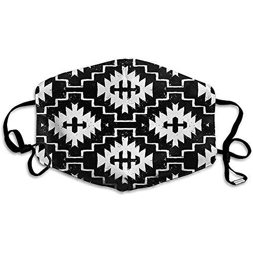 Staubdichte Masken, aztekisches nahtloses ethnisches Muster mit indianischen Motiven in Schwarzweiss-Farben