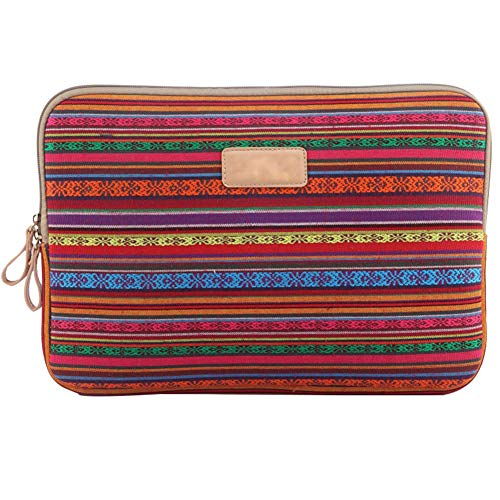 Laptop Sleeve 360° Protective Bohemian&Ethnic Case Cover with Two Lateral Pockets Zipper 15.6 Inch Sleeve Bag for MacBook/Laptops/Notebooks/Ultrabooks/Netbooks,Red