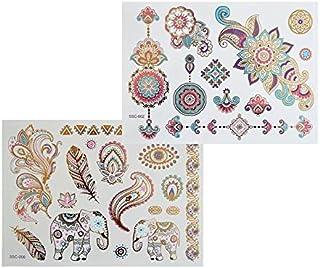XL colores multicolor Metallic Tattoo SC02 06 Flash Diseño Mandala Elefante Henna Tatuaje Oro Rosa Azul