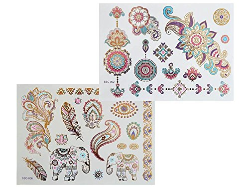 XL FARBIGE BUNTE METALLIC TATTOO SC02 06 FLASH TATTOO MANDALA ELEFANTEN Henna Design Gold Rosa Blau Lila Blumen Tattoo Kleber- XL Bogen
