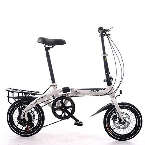 KXDLR vouwfiets, 16-inch opvouwbaar compact fiets, ultra licht draagbaar enkele snelheid kleine fiets, enkele schok Absorptie, dubbele schijfrem
