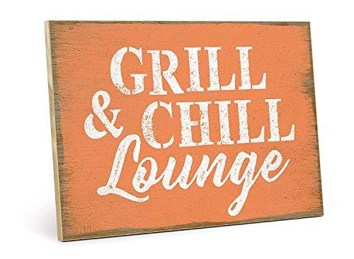 JEFFERS houten bord met spreuk - Grill & CHILL Lounge - van MDF-hout, bord, muurschild, deurschild, houten bord, houten paneel, houten afbeelding met citaat als geschenk en decoratie (19, 5 x 28,2 cm)