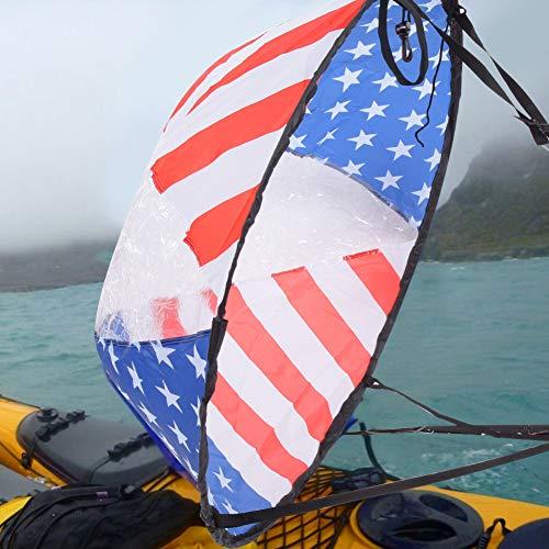 Leftwei Kajaksegel, Windsegel, mit transparentem Fenster Flaggenmuster Kanu Windpaddel, 108CM Windpaddel, Segelboot Schlauchboote für Kanu Kajak