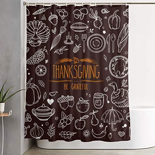 Nongmei Duschvorhang,Thanksgiving Traditioneller Feiertagskürbis Truthahnkuchen Mais & andere,Badvorhang waschbarer Badvorhang Polyestergewebe mit 12 Kunststoffhaken 180x210cm