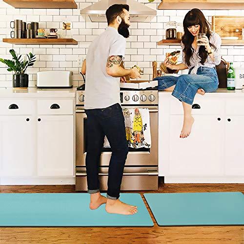 "Color&Geometry Kitchen Rug Non Skid Waterproof Kitchen Mats Cushioned Anti Fatigue Standing Mat 30""X18""+59""X18"" Cyan"