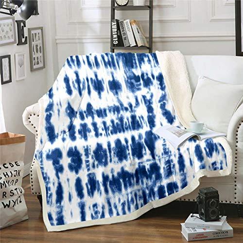 Manta de forro polar Tie Dye Boho psicodélico Sherpa para niños y niñas, acuarela azul blanco arte manta de felpa bohemia, decoración gitana borrosa para sofá cama, bebé 76 x 100 cm