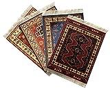 Set of 4 Rug Mouse Pads | Oriental Turkish Design | Miniature Carpet Mats (Set-2)