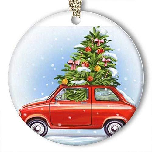 EaYanery Bola de árbol de Navidad Coche de Navidad Estrella de copo de nieve Ornamento (redondo) Personalizado de cerámica de vacaciones Navidad Ideas 2019