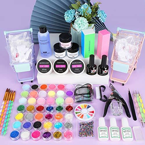 Morovan Acrylic Nail kit, Acrylic Powder and Liquid Set With Glitter Acrylic Nail Brush Nail Tips Acrylic Nail Supplies for Acrylic Nails Extension Starter Kit