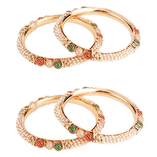 Efulgenz Fashion Jewelry Indian Bollywood 14 K Gold Plated Faux Pearl Beaded Bracelets Bangle Set for Women Multicolor