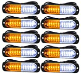 Emergency Strobe Lights, Universal Surface Mount Amber/White Emergency Warning Hazard Flashing Strobe Light Bar for Off Road Vehicle, ATVs, Truck (10PCS)
