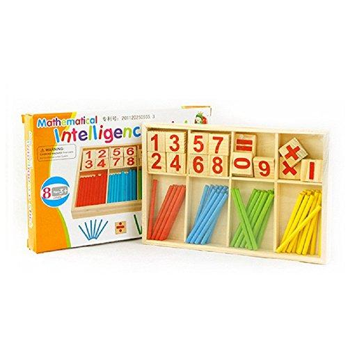FunnyGoo Palos contadores de Madera Coloridos Bloques manipuladores de matemáticas y Varillas de conteo con Caja