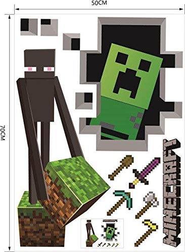 Minecraft Wall Cling Decal Decor Poster (Creeper Enderman)