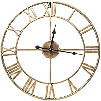 RROWER 5050cm Metal Roman Numerals Openwork Wall Clock, Open Back Skeleton Metal Frame, Silent
