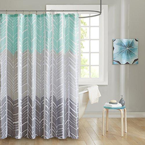 Intelligent Design ID70-791 Adel 100% Microfiber Printed Shower Curtain 72x72 Aqua, 72 x 72