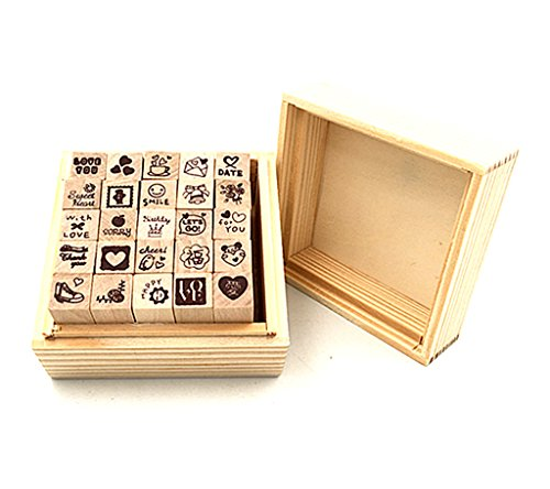 Diary Stamp Set,Wooden Rubber Signet for Children DIY Scrapbooking Planner Card Making(25pcs,Love Heart)