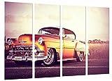 Cuadro Fotográfico Coche Vintage Chevrolet Naranja, Clasico Tamaño total: 131 x 62 cm XXL