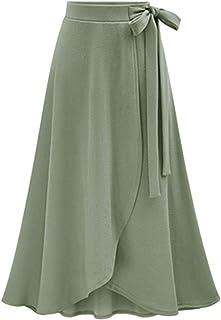c7b4e63b1eb SEBOWEL Women s Solid High Waist Flowy A-line Flared Skater Slit Midi Maxi  Skirt(