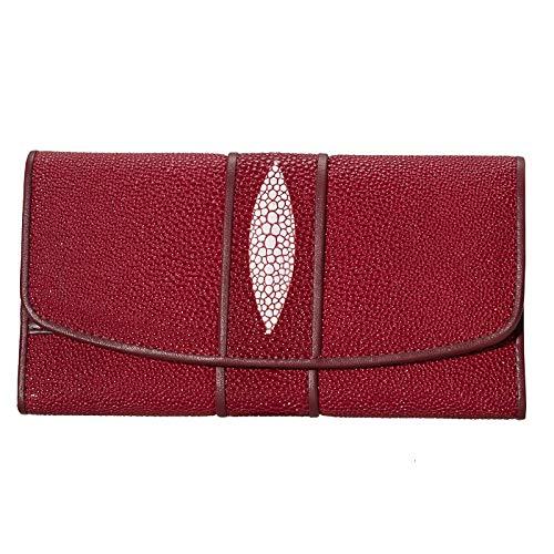 Ai-yixi Soporte para teléfono de diseño clásico de cuero con estampado de rayas y carteras de piel exótica para mujer, bolso de embrague perfecto salvaje (color rojo B75, tamaño: A)