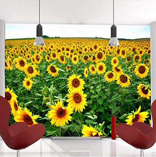 Fotobehang Geel Bloemenveld Muurschildering 3D Non-Woven Moderne Woondecoratie voor Slaapkamer Badkamer 200x140cm