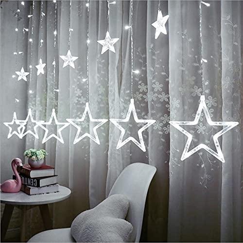 Navidad 2.5M Estrella de Hadas Luces de Cadena de Cortina LED 100-240V Luces de Cadena de Guirnalda de Navidad para el hogar Fiesta de Bodas Vacaciones Diciembre - Blanco