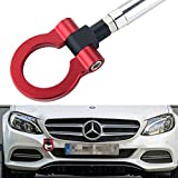 DEWHEL Front Bumper Eye Towing Tow Hook Bolt on No Drill Relocator Hole for Mercedes W204 C-Class W212 E-Class C117 CLA-Class W221 S-Class W166 ML X204 GLK (Red)