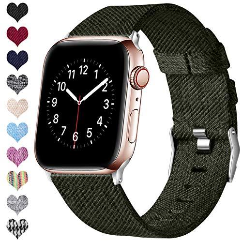 Ouwegaga Compatible con Apple Watch Correa 38mm 40mm 42mm 44mm, Banda de Tela Tejida de Repuesto, Pulsera Deportiva de Nylon Compatible con iWatch Series 5 4 3 2 1, Verde Oscuro 38mm/40mm