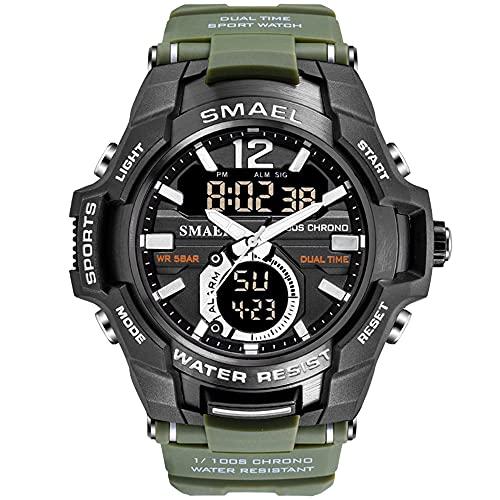 Reloj de pulsera para hombre, analógico, digital, deportivo, resistente al agua, reloj de pulsera digital LED con cronómetro para hombres, Verde militar.,